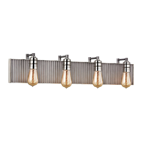 ELK Lighting 15923/4 Corrugated Steel Collection Weathered Zinc,Polished Nickel Finish - PeazzLighting