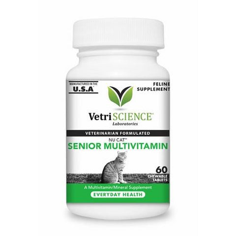 Vetri-Science 16191 Nu Cat Senior MultiVitamin/Mineral Supplement, 60 Tablets - Peazz.com