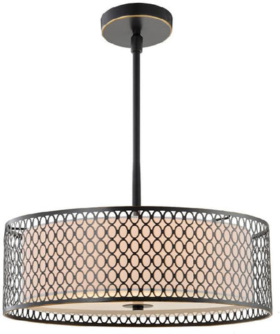 "Woodbridge Lighting 16622BRZ Spencer 22"" Pendant, Bronze & Off-white Shade - Peazz.com"