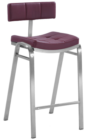 Chintaly 1670-CS-RED Quilted Staionary Counter Stool ( Set of 2 )