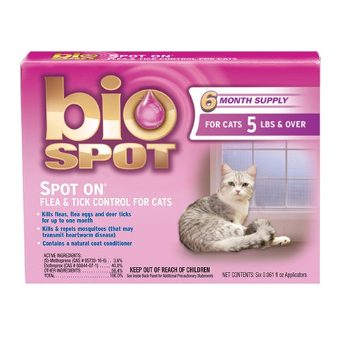 Bio Spot Spot On Flea & Tick Control for Cats Over 5 lbs, 6 Pack - Peazz Pet