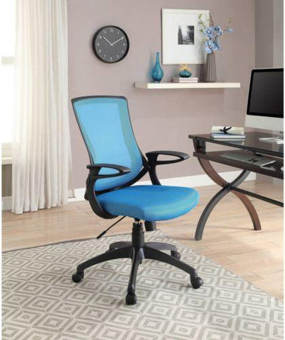 Linon 178326TURQ01 Carlyle Turquoise Office Chair