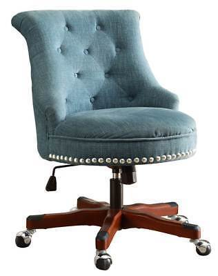 Bayden Hill 178403AQUA01U Sinclair Office Chair Aqua - Dark Walnut Wood Base
