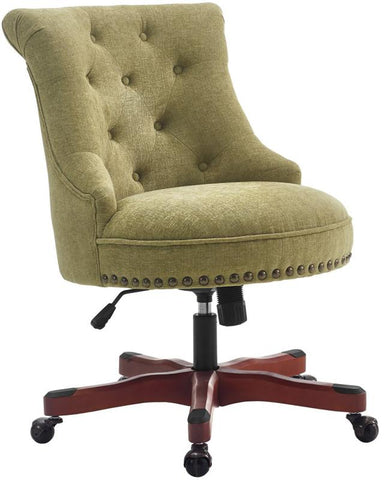 Linon 178403GRN01U Sinclair Office Chair Green - Dark Walnut Wood Base