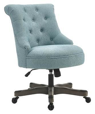 Linon 178403LTBLU01U Sinclair Office Chair Light Blue - Gray Wash Wood Base