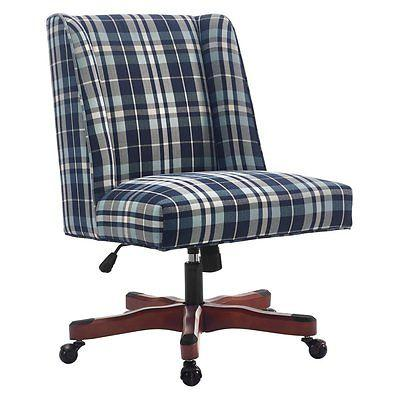 Linon 178404BPLD01U Draper Office Chair Blue Plaid - Dark Walnut Wood Base