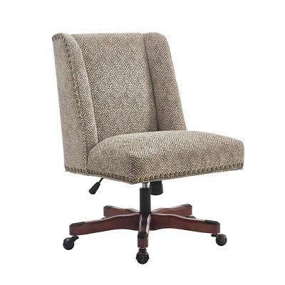Linon 178404BRN01U Draper Office Chair Brown - Dark Walnut Wood Base
