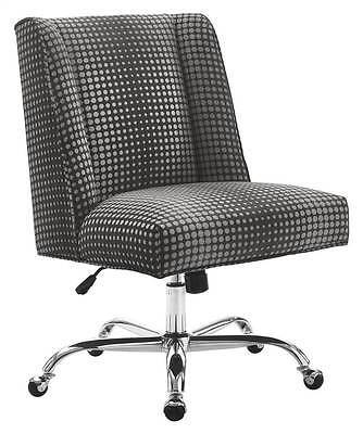Linon 178404GDOT01U Draper Office Chair Gray Dot - Chrome Base