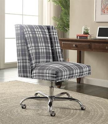 Linon 178404GPLD01U Draper Office Chair Gray Plaid - Chrome Base