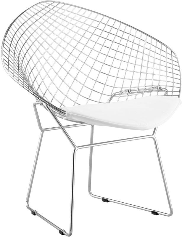 Zuo Dining Chair Color White Chromed Steel Net