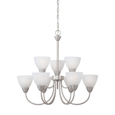 Thomas Lighting 190036117 Tia Collection Matte Nickel Finish Transitional Chandelier