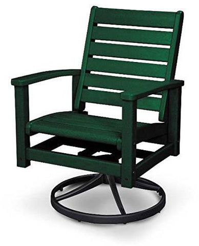 Polywood 1930-12GR Signature Swivel Rocker Chair Textured Black / Green Finish - PolyFurnitureStore