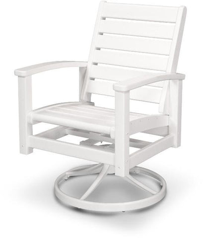 Polywood 1930-13WH Signature Swivel Rocker Chair Satin White / White Finish - PolyFurnitureStore