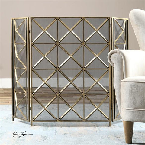 Uttermost Akiva Champagne Fireplace Screen (19984) - UTMDirect