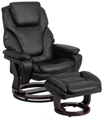 Contemporary Black Leather Recliner and Ottoman with Swiveling Mahogany Wood Base BT-70222-BK-FLAIR-GG