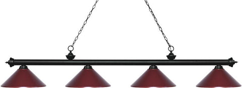 Z-Lite 200-4MB-MDW 4 Light Island/Billiard Light Riviera Matte Black Collection Dark Wine Finish - ZLiteStore