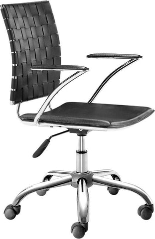 Zuo Modern 205030 Criss Cross Office Chair Color Black Chromed Steel Finish - Peazz.com - 1
