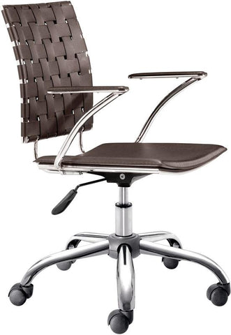 Zuo Modern 205032 Criss Cross Office Chair Color Espresso Chromed Steel Finish - Peazz.com - 1