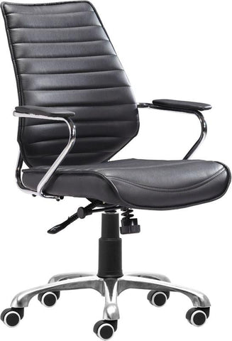 Zuo Modern 205164 Enterprise Low Back Office Chair Color Black Chromed Steel Finish - Peazz.com - 1