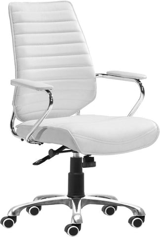 Zuo Modern 205165 Enterprise Low Back Office Chair Color White Chromed Steel Finish - Peazz.com - 1