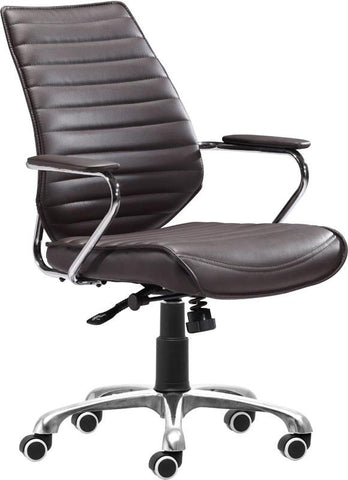 Zuo Modern 205166 Enterprise Low Back Office Chair Color Espresso Chromed Steel Finish - Peazz.com - 1
