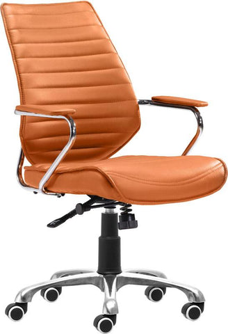 Zuo Modern 205167 Enterprise Low Back Office Chair Color Terracotta Chromed Steel Finish - Peazz.com - 1