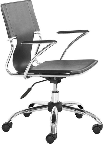 Zuo Modern 205181 Trafico Office Chair Color Black Chromed Steel Finish - Peazz.com - 1