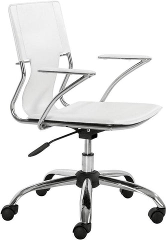 Zuo Modern 205182 Trafico Office Chair Color White Chromed Steel Finish - Peazz.com - 1