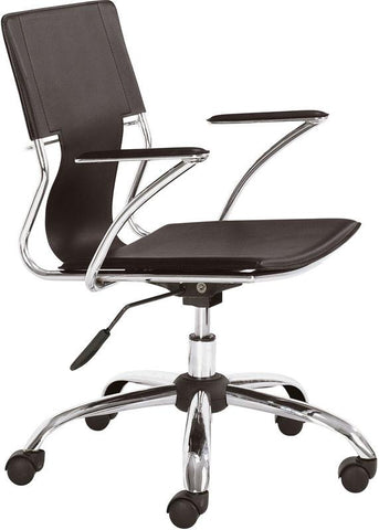 Zuo Modern 205183 Trafico Office Chair Color Espresso Chromed Steel Finish - Peazz.com - 1