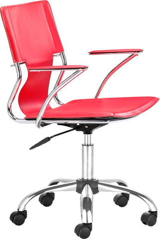Zuo Modern 205184 Trafico Office Chair Color Red Chromed Steel Finish - Peazz.com - 1