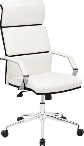 Zuo Modern 205311 Lider Pro Office Chair Color White Chromed Steel Finish - Peazz.com - 1