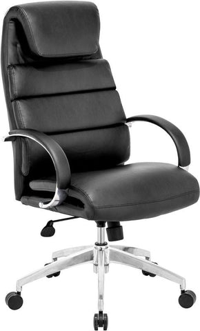 Zuo Modern 205315 Lider Comfort Office Chair Color Black Polished Aluminum Finish - Peazz.com - 1