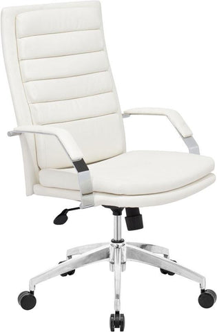 Zuo Modern 205327 Director Comfort Office Chair Color White Chromed Steel Finish - Peazz.com - 1
