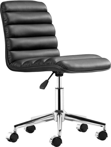 Zuo Modern 205710 Admire Office Chair Color Black Chromed Steel Finish - Peazz.com - 1