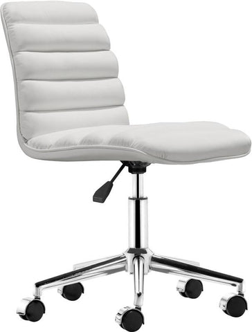 Zuo Modern 205711 Admire Office Chair Color White Chromed Steel Finish - Peazz.com - 1