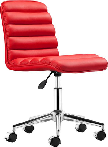 Zuo Modern 205712 Admire Office Chair Color Red Chromed Steel Finish - Peazz.com - 1