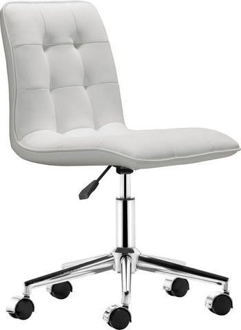 Zuo Modern 205771 Scout Office Chair Color White Chromed Steel Finish - Peazz.com - 1