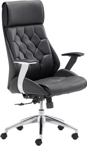 Zuo Modern 205890 Boutique Office Chair Color Black Chromed Steel Finish - Peazz.com - 1