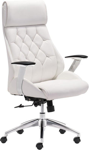 Zuo Modern 205891 Boutique Office Chair Color White Chromed Steel Finish - Peazz.com - 1