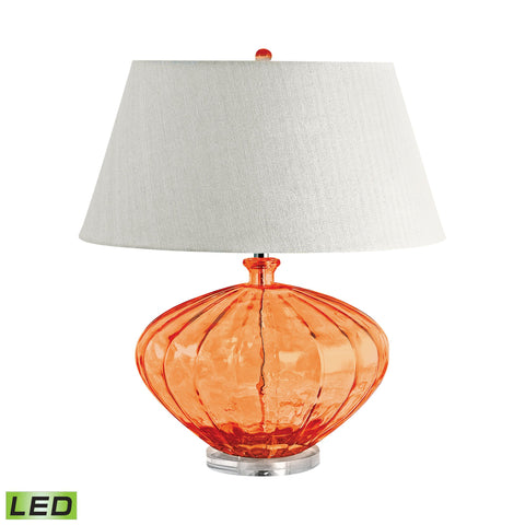 Lamp Works LAM-209-LED Recycled Glass Collection Orange Finish Table Lamp