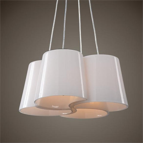 Uttermost Botanic 4 Light Milk Glass Chandelier (21271) - UTMDirect