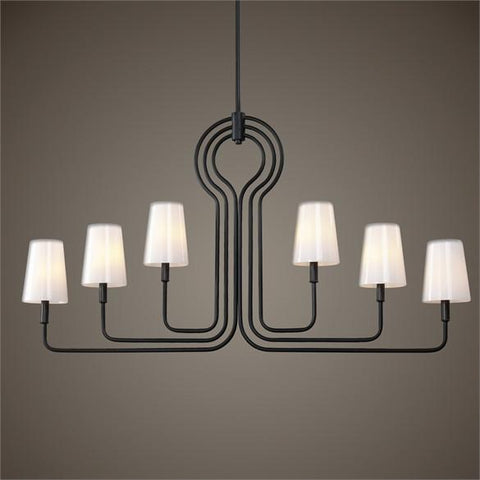 Uttermost Articulo 6 Light Black Iron Chandelier (21272) - UTMDirect