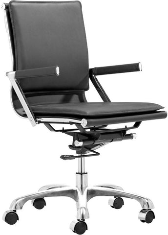Zuo Modern 215212 Lider Plus Office Chair Color Black Chromed Steel Finish - Peazz.com - 1