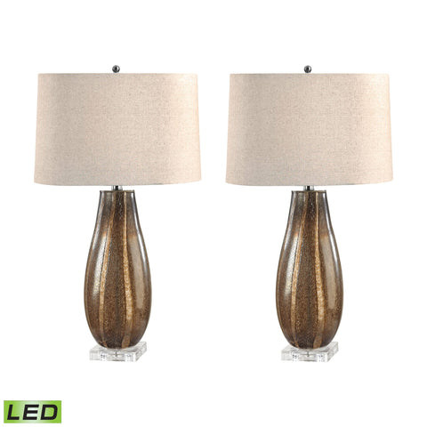 Lamp Works LAM-215/S2-LED Glass Collection Sand Finish Table Lamp