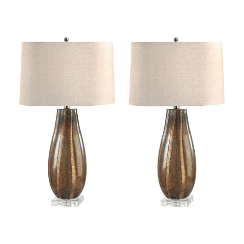 Lamp Works LAM-215/S2 Glass Collection Sand Finish Table Lamp
