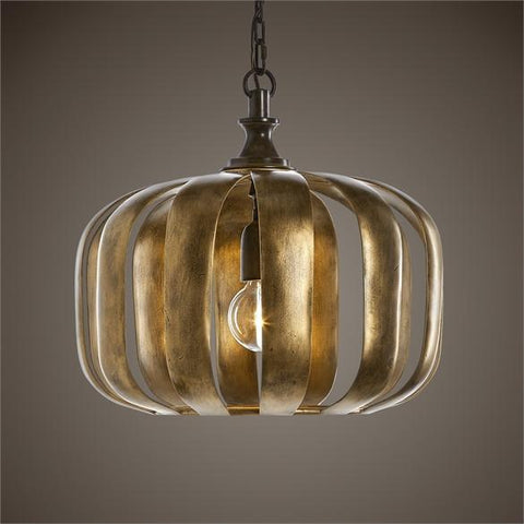 Uttermost Zucca 1 Light Antique Gold Pendant (22035) - UTMDirect