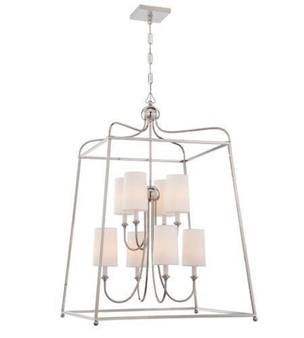 Crystorama 2248-PN Libby Langdon for Sylvan 8 Light Polished Nickel Chandelier - PeazzLighting