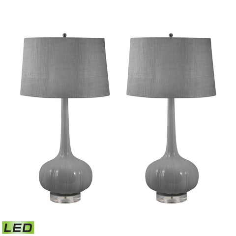 Lamp Works LAM-229/S2-LED Del Mar Collection Grey Finish Table Lamp