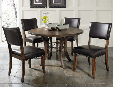 Hillsdale 4671DTBWC4 Cameron 5-Piece Round Wood Base Dining Set w/Parson Chairs