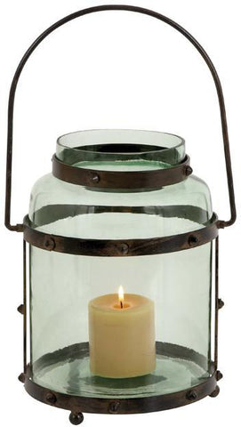 Benzara 23801 Metal Glass Lantern With Solid Metal Frame